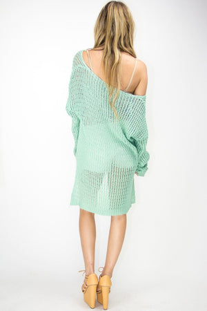 HIGH LOW SWEATER - Electric Mint - Haute & Rebellious