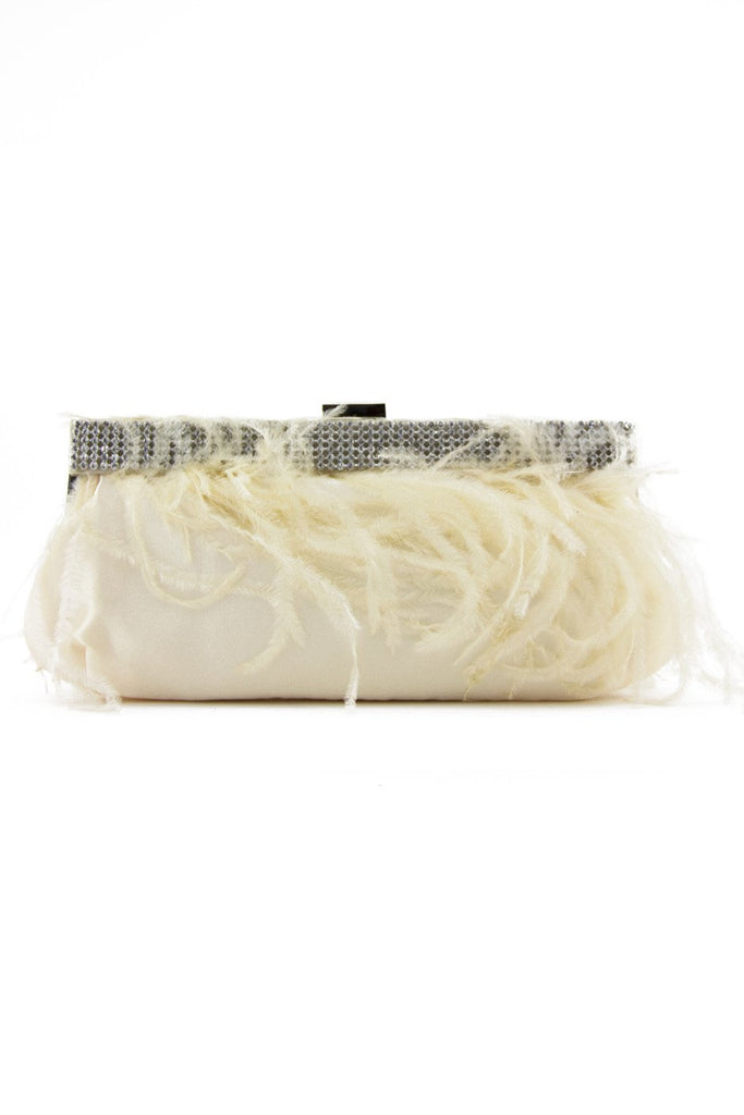 FEATHER CLUTCH - White
