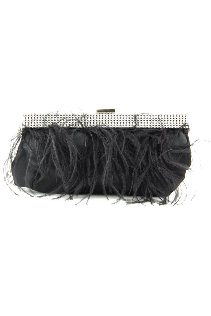 FEATHER CLUTCH - Black