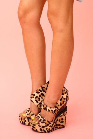 Haute & Rebellious LEOPARD FUR WEDGES in [option2]