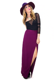ONE SLIT SKIRT - Burgandy