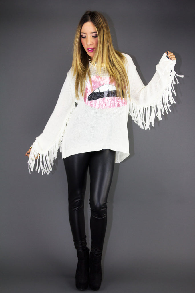 RED LIPS FRINGE SWEATER - White