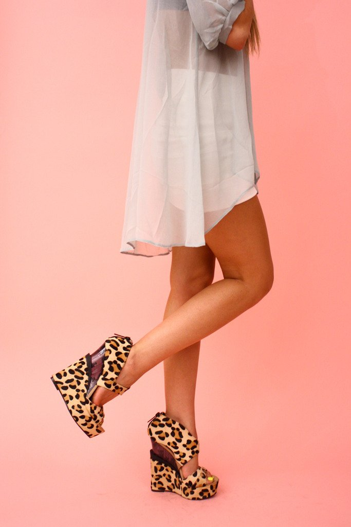 LEOPARD FUR WEDGES