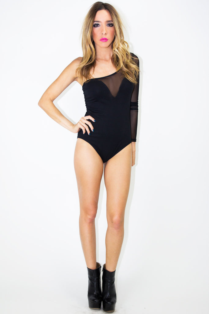 ONE SHOULDER MESH BODYSUIT - Haute & Rebellious