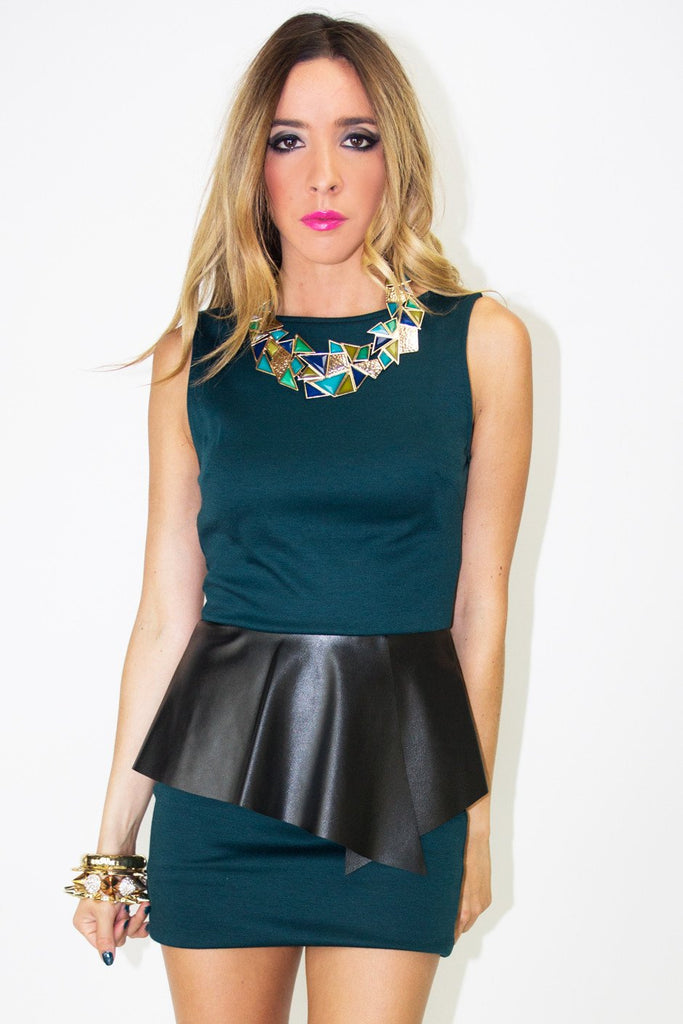 AIDEN CONTRAST LEATHER PEPLUM DRESS