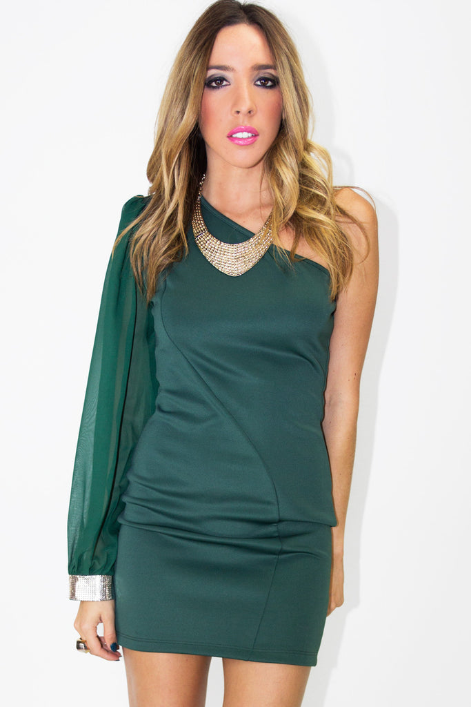 ONE SLEEVE DRESS - Forest Green (Final Sale)