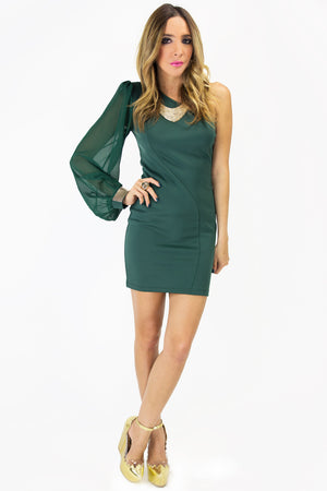 ONE SLEEVE DRESS - Forest Green (Final Sale) - Haute & Rebellious