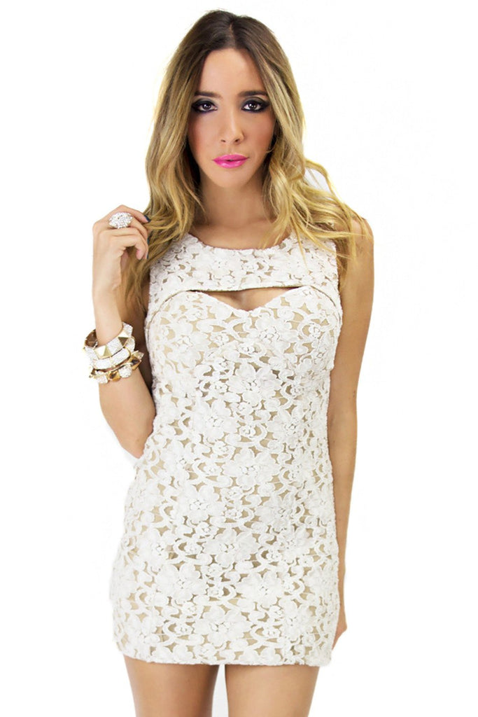 FRONT CUTOUT LACE DRESS - White/Nude