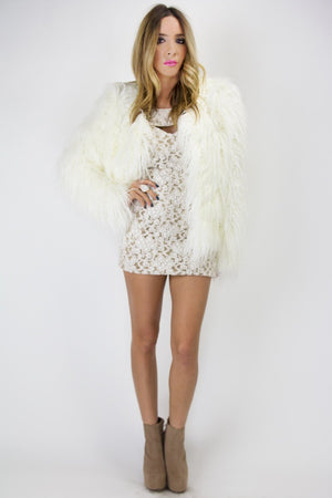 FRONT CUTOUT LACE DRESS - White/Nude - Haute & Rebellious