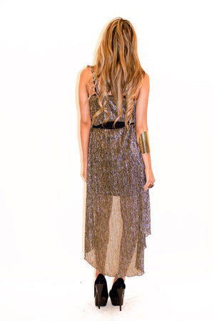 HIGH-LOW METALLIC DRESS - Gold/Silver - Haute & Rebellious