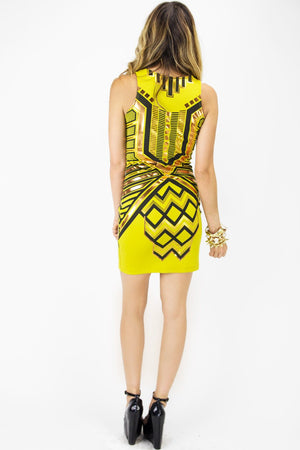 METALLIC TRIBAL PRINT DRESS - Yellow - Haute & Rebellious