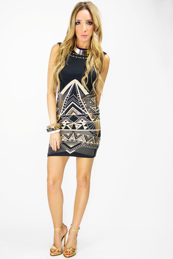 NAOMI TRIBAL PRINT DRESS