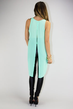 ELLA CHIFFON TOP - Neon Mint - Haute & Rebellious