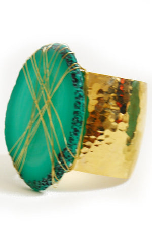 Haute & Rebellious HANNAH GREEN STONE CUFF in [option2]