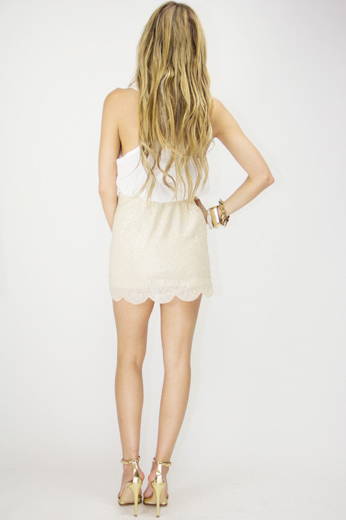 SCALLOP SEQUIN SKIRT - Beige
