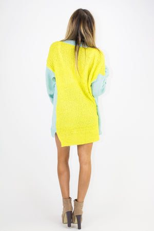 NEON CONTRAST SWEATER - Lime/Mint - Haute & Rebellious