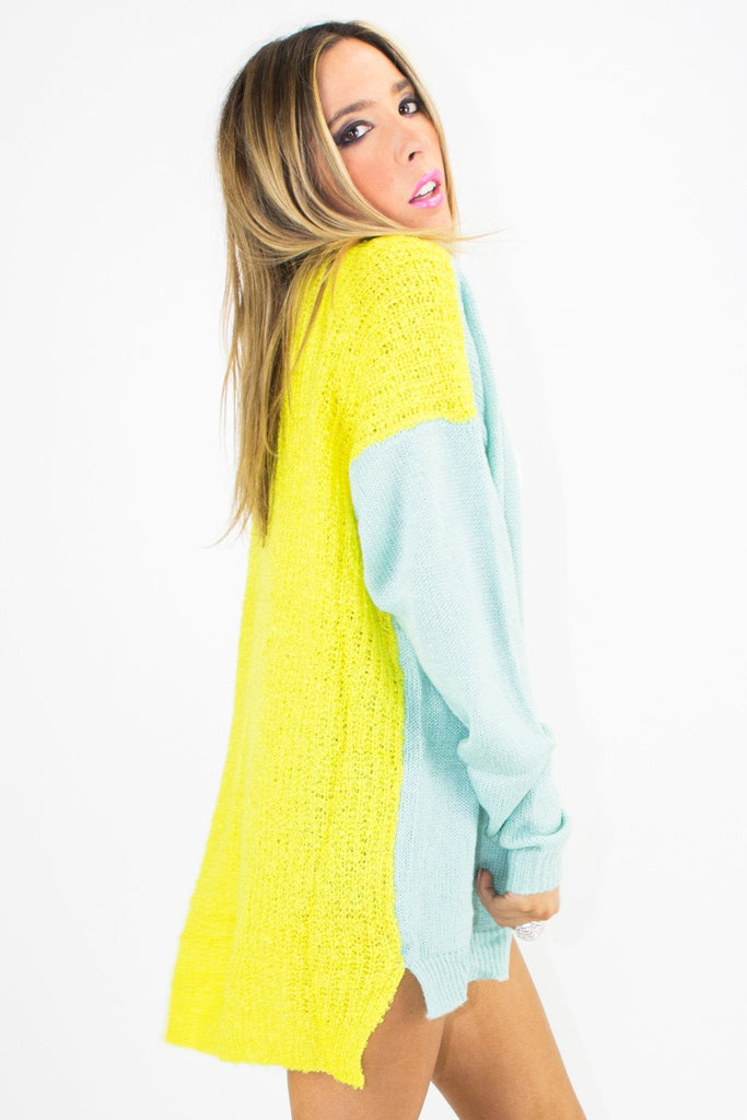NEON CONTRAST SWEATER - Lime/Mint