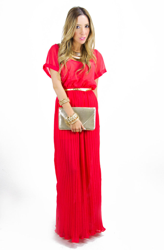 VALENTINA RED MAXI DRESS