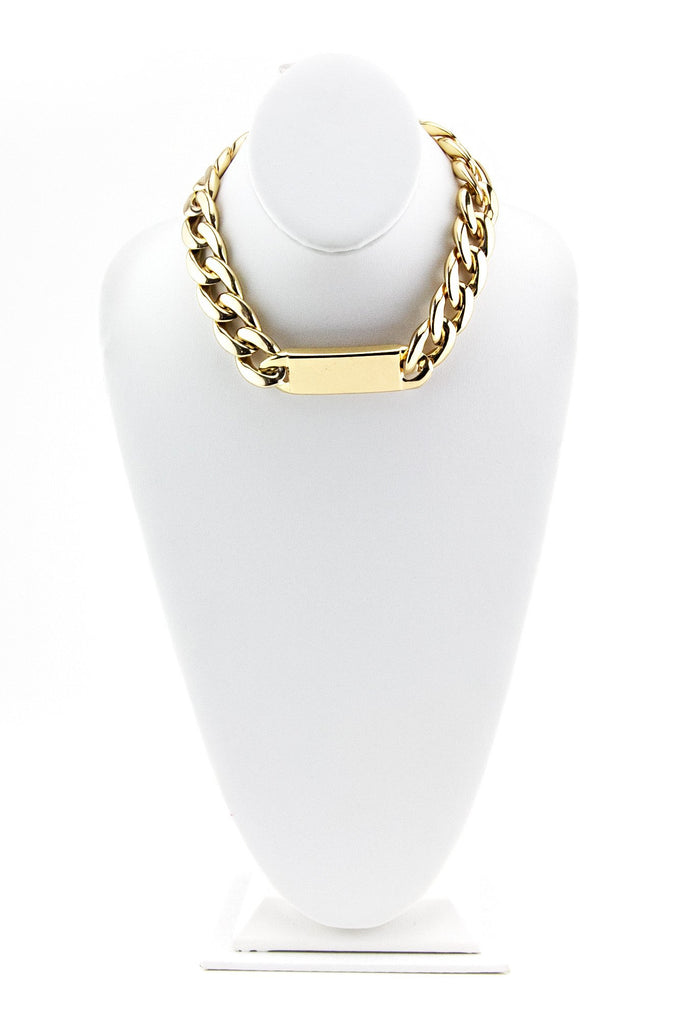 LARGE THICK ID CHAIN NECKLACE - Gold