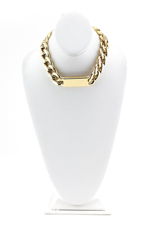 LARGE THICK ID CHAIN NECKLACE - Gold - Haute & Rebellious