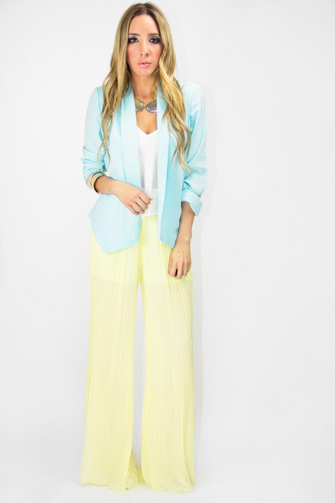 PLEATED PALAZZO PANTS - Soft Yellow - Haute & Rebellious