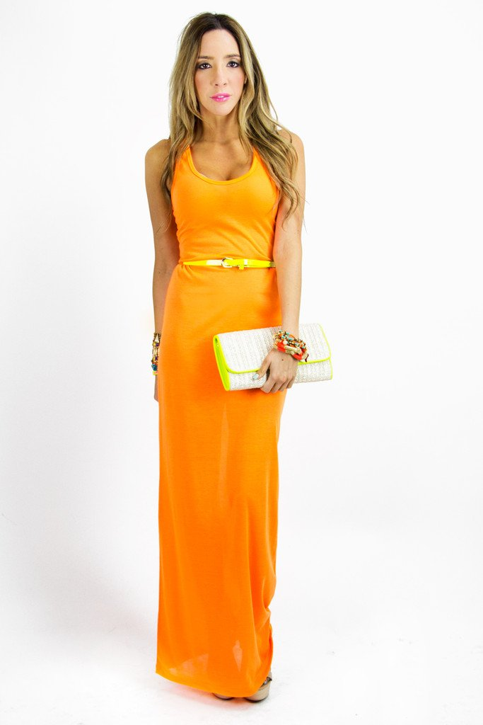 NEON JERSEY MAXI DRESS - Neon Orange - Haute & Rebellious