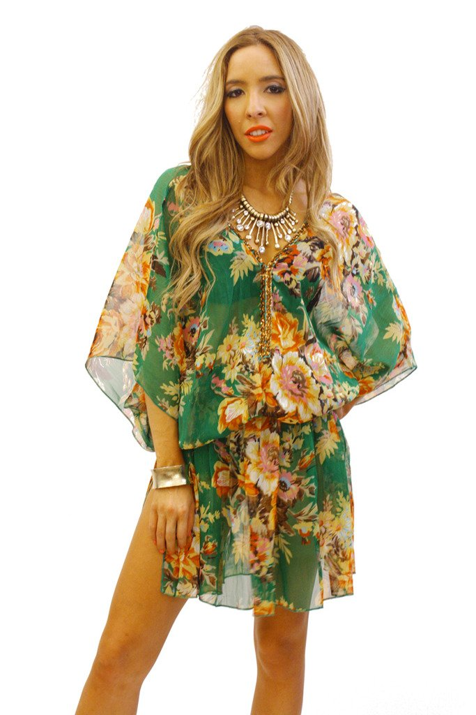 GREEN FLOWER TUNIC