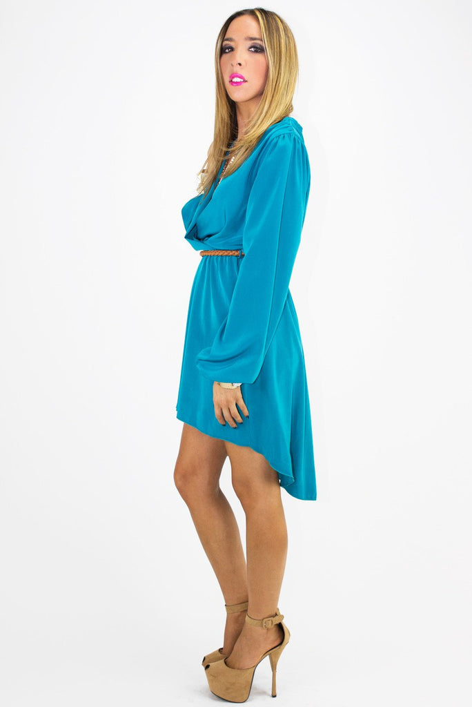 LONG HIGH-LOW DRESS - Deep Aqua