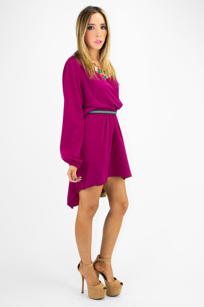 HANA LONG SLEEVE HIGH-LOW DRESS