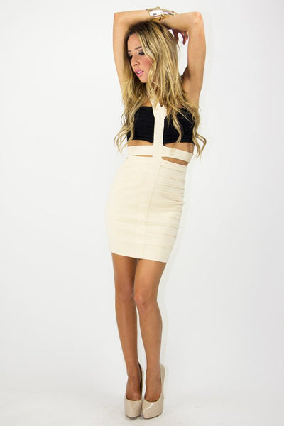 BELLA BANDED CUTOUT DRESS - Black/Beige - Haute & Rebellious