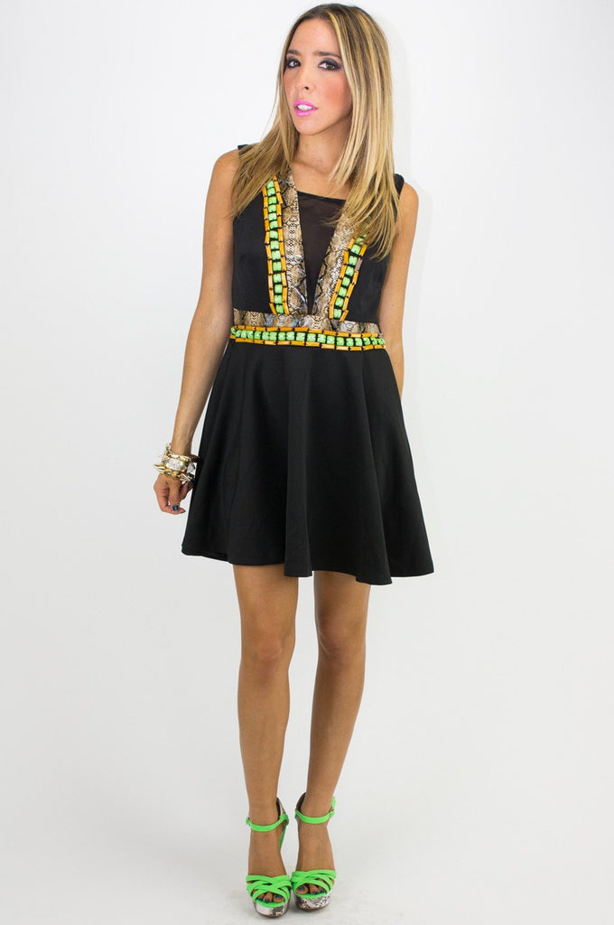 EMBELLISHED TRIBAL DRESS WITH MESH