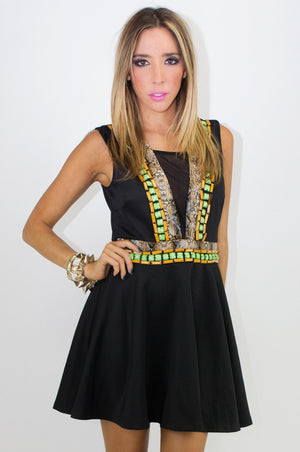 EMBELLISHED TRIBAL DRESS WITH MESH - Haute & Rebellious