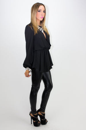 ALANA LONG SLEEVE BLOUSE - Black - Haute & Rebellious