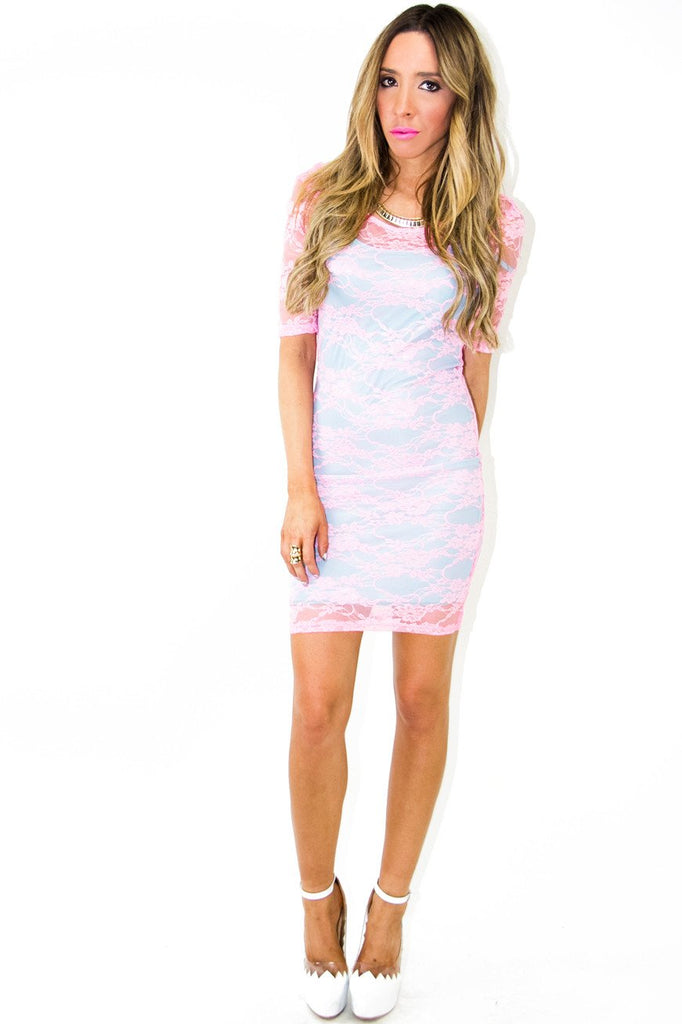 NEON CONTRAST MESH DRESS - Pink (Final Sale)