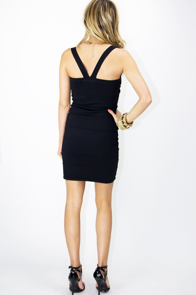 CUTOUT BANDED DRESS - Black