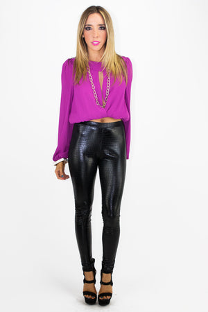 SNAKE PRINT LEGGINGS - BLACK - Haute & Rebellious