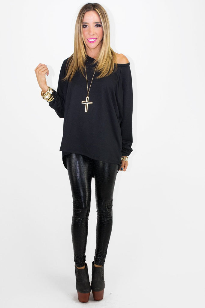 CUTOUT CROSS SWEATSHIRT - Black