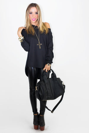 CUTOUT CROSS SWEATSHIRT - Black - Haute & Rebellious