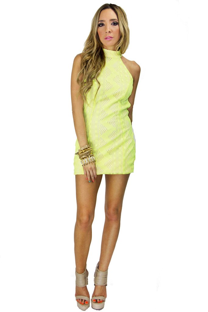 NEON LACE DRESS - Lime