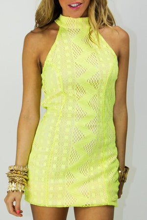 NEON LACE DRESS - Lime - Haute & Rebellious