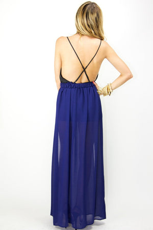 DOUBLE SLIT CHIFFON LONG SKIRT - Deep Purple - Haute & Rebellious