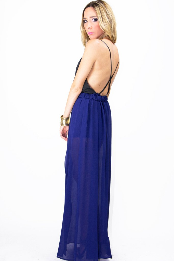 DOUBLE SLIT CHIFFON LONG SKIRT - Deep Purple