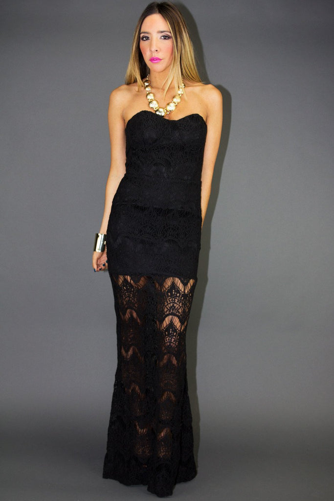 ANDREA ALL OVER LACE LONG DRESS - Black