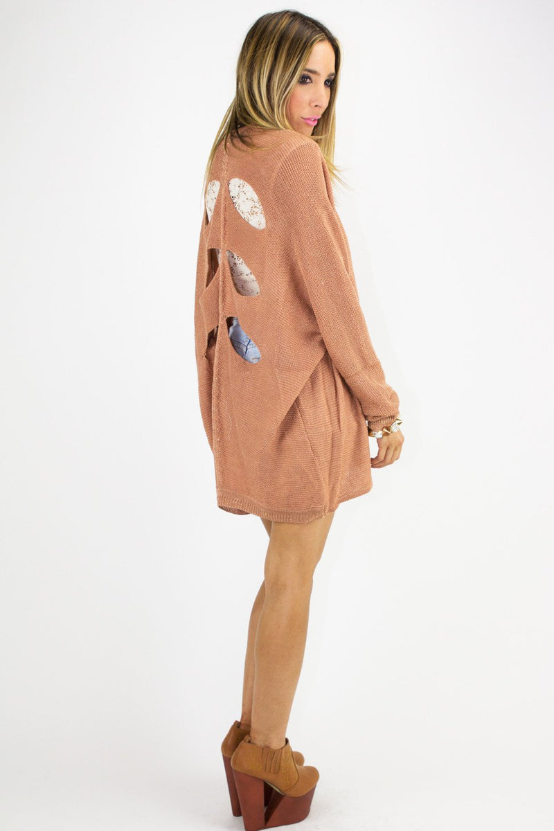 CUTOUT SWEATER - Copper Rose - Haute & Rebellious