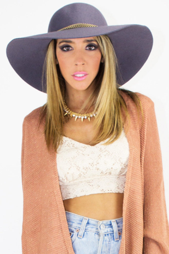 BOHO FLOPPY HAT WITH GOLD CHAIN - Gray