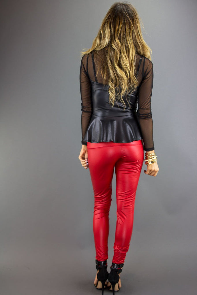 LEATHER SKINNIES - Red