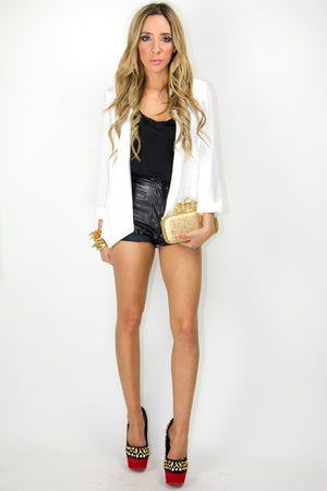 FAUX LEATHER SHORTS - Black - Haute & Rebellious