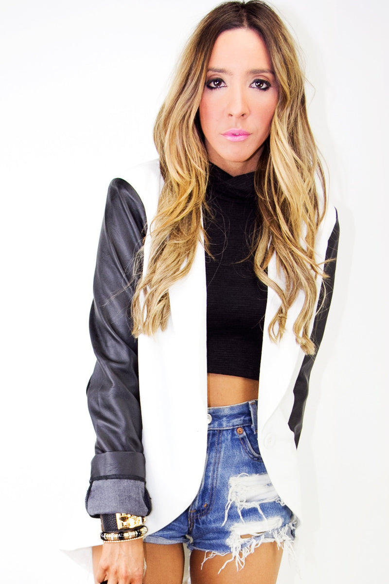 WHITE JACKET WITH BLACK LEATHER CONTRAST SLEEVES - Haute & Rebellious