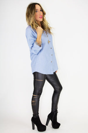 BOYFRIEND CHAMBRAY SHIRT - Haute & Rebellious