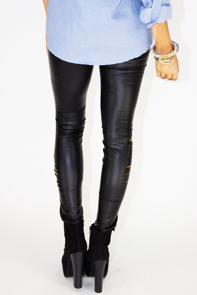 SLIT CUTOUT LEATHER LEGGINGS - Black